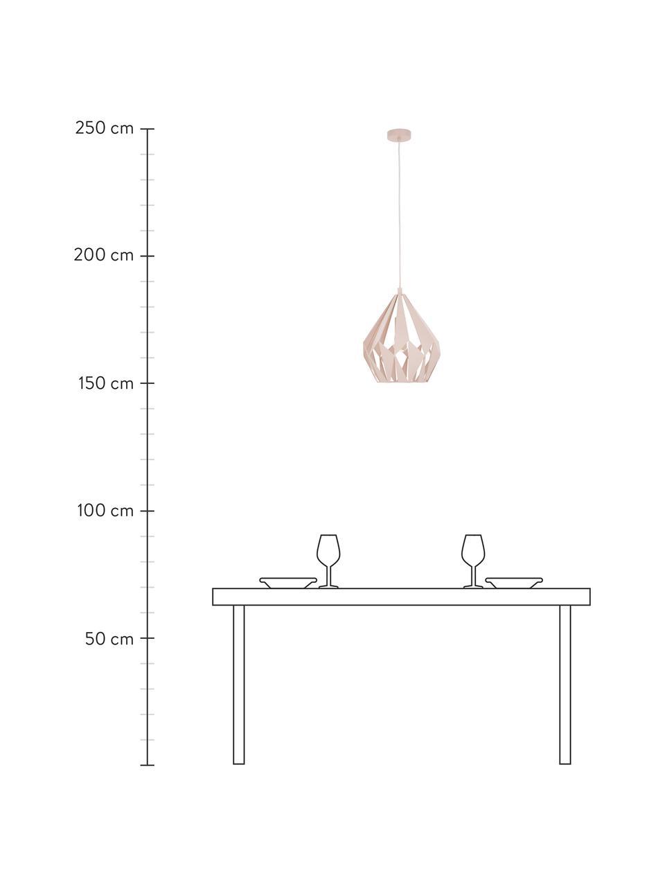 Lampada a sospensione stile nordico Carlton, Paralume: acciaio verniciato, Baldacchino: acciaio verniciato, Color albicocca, Ø 31 x Alt. 40 cm
