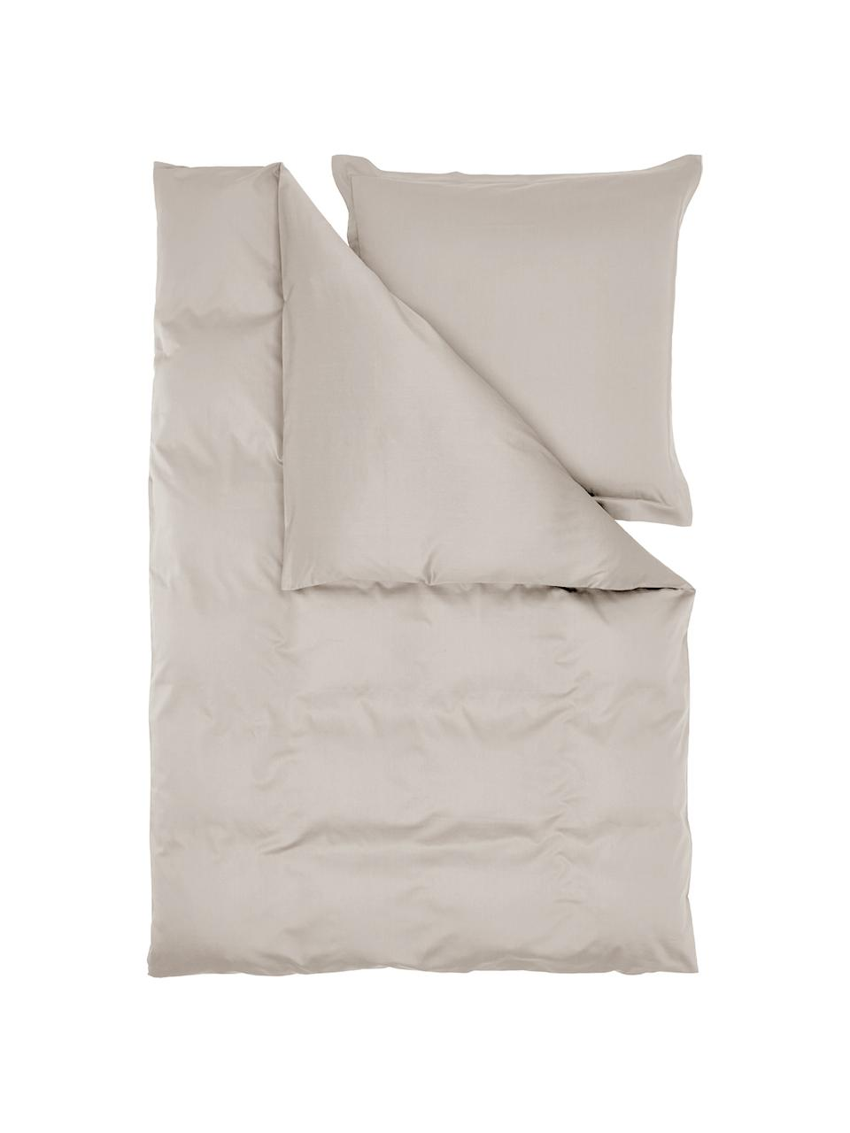 Pościel z organicznej satyny bawełnianej z lamówką Premium, Taupe, 240 x 220 cm + 2 poduszki 80 x 80