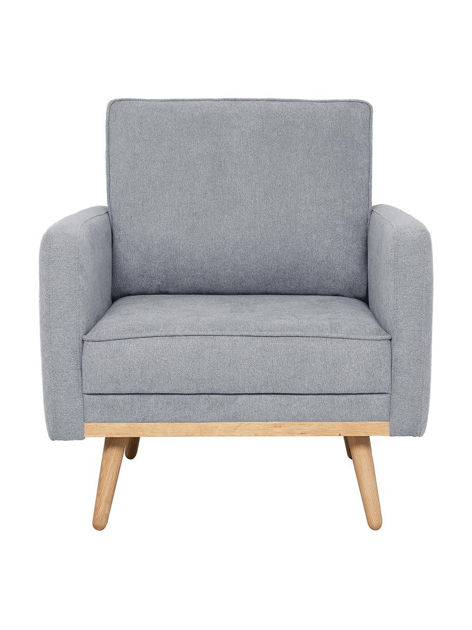 Fotel z aksamitu z nogami z drewna dębowego Saint, Tapicerka: poliester Dzięki tkaninie, Niebieskoszary, S 85 x G 76 cm
