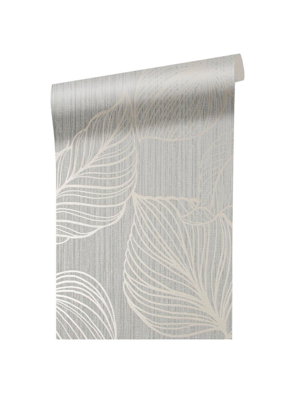 Carta da parati Luxus Fine Blatter, Tessuto non tessuto, Argentato, grigio, Larg. 52 x Alt. 1005 cm