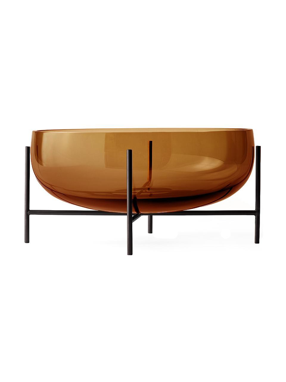 Bol Échasse, Jarrón: vidrio soplado artesanalm, Estructura: latón, Marrón, Ø 30 x Al 14 cm