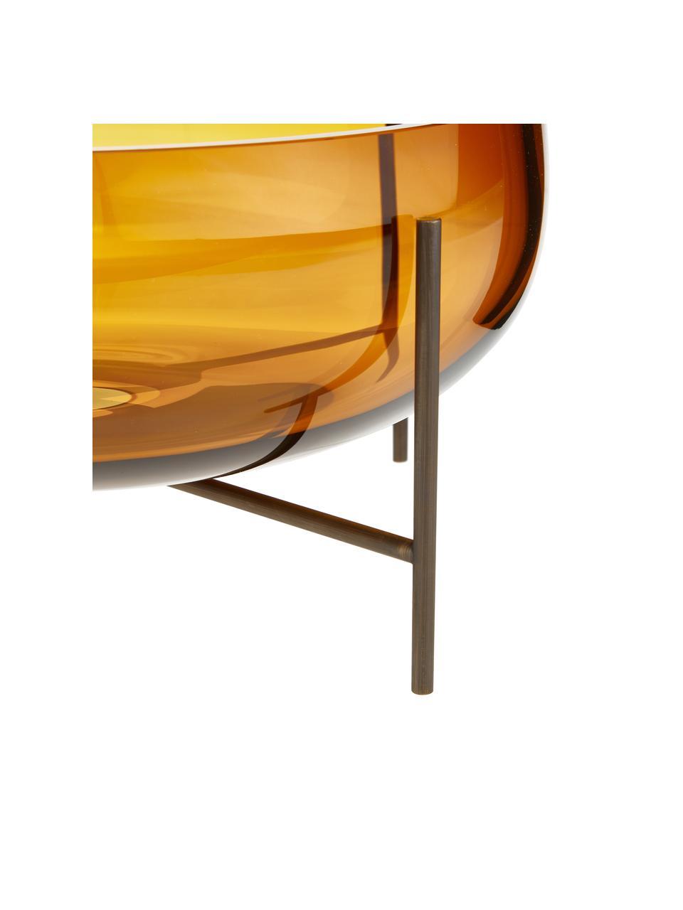 Schale Échasse, Vase: Glas, mundgeblasen, Gestell: Messing, Braun, Bronze, Ø 30 x H 14 cm