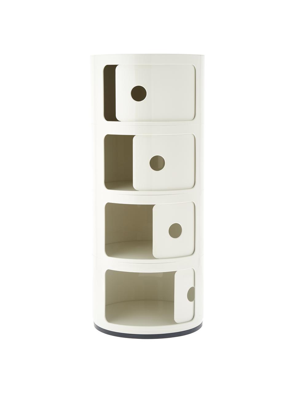 Contenitore di design a 4 cassetti Componibili, Materiale sintetico (ABS), verniciato, Bianco, Ø 32 x Alt. 77 cm