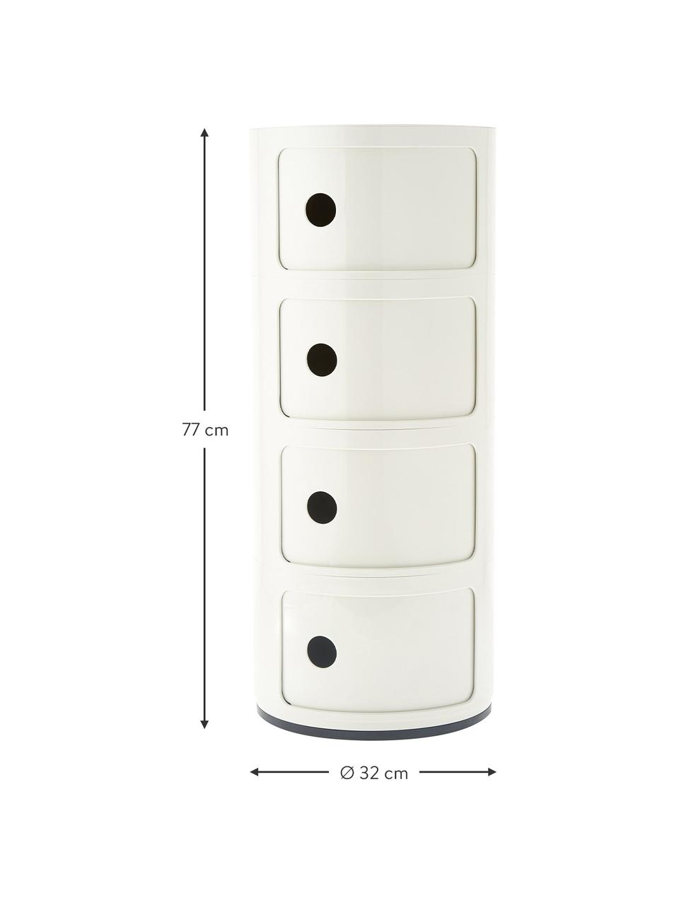 Design Container Componibili 4 Modules, Kunststoff (ABS), lackiert, Weiß, Ø 32 x H 77 cm