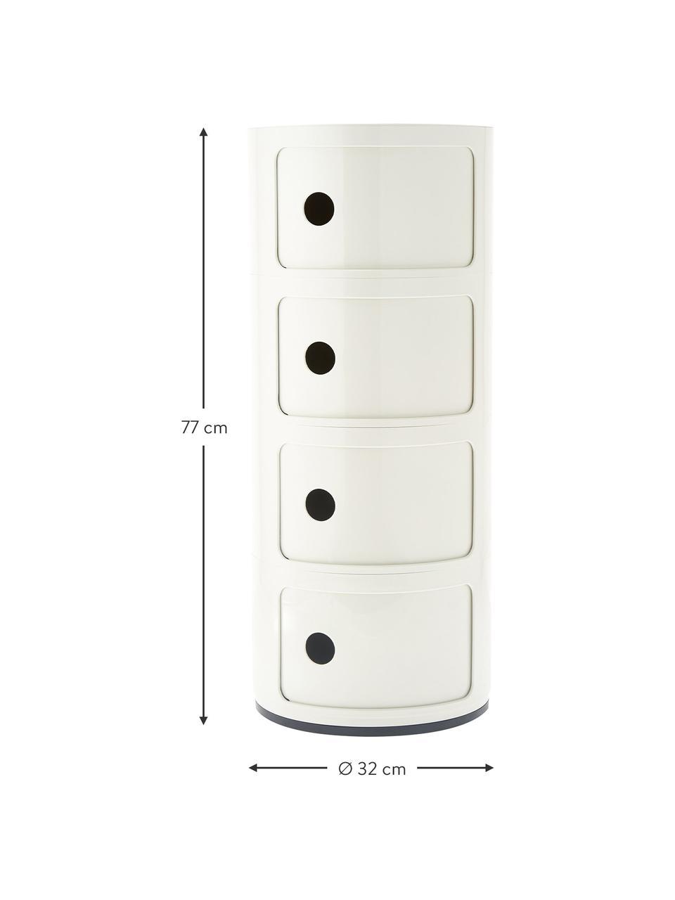Stolik pomocniczy Componibile, Tworzywo sztuczne (ABS), lakierowane, Biały, Ø 32 x W 77 cm