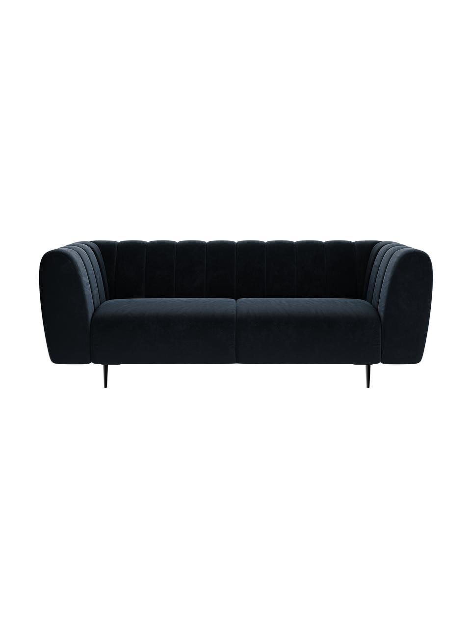 Sofa z aksamitu Shel (3-osobowa), Tapicerka: 100% aksamit poliestrowy, Stelaż: drewno liściaste, drewno , Nogi: metal powlekany Dzięki tk, Ciemny niebieski, S 210 x G 95 cm