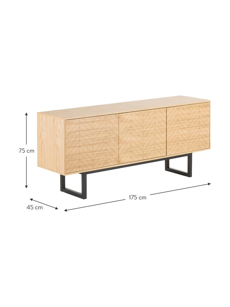 Credenza con ante e finitura di quercia Camden, Piedini: legno di betulla vernicia, Legno di quercia, Larg. 175 x Alt. 75 cm