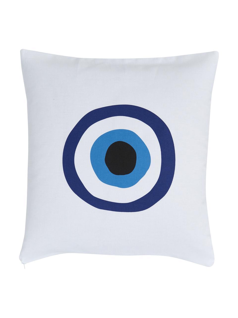Kissenhülle Nazar in Blau/Weiß, 100% Baumwolle, Blau,Schwarz, 40 x 40 cm