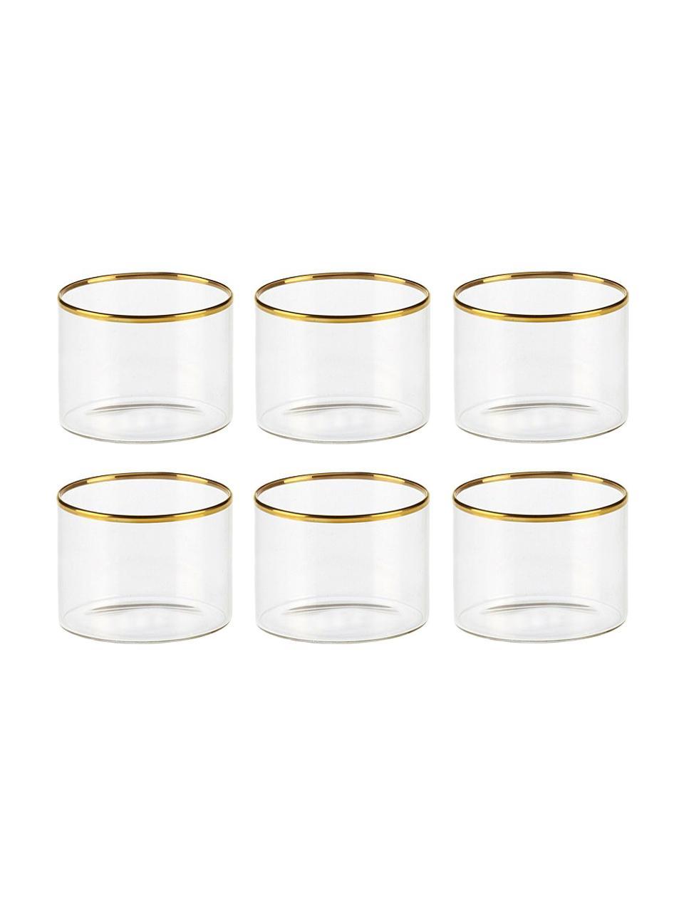 Verre à vin Boro bord doré, 6pièces, Transparent, doré
