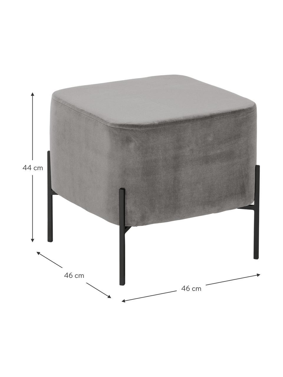 Samt-Hocker Harper, Bezug: Baumwollsamt, Fuß: Metall, pulverbeschichtet, Samt Grau, Schwarz, 46 x 44 cm