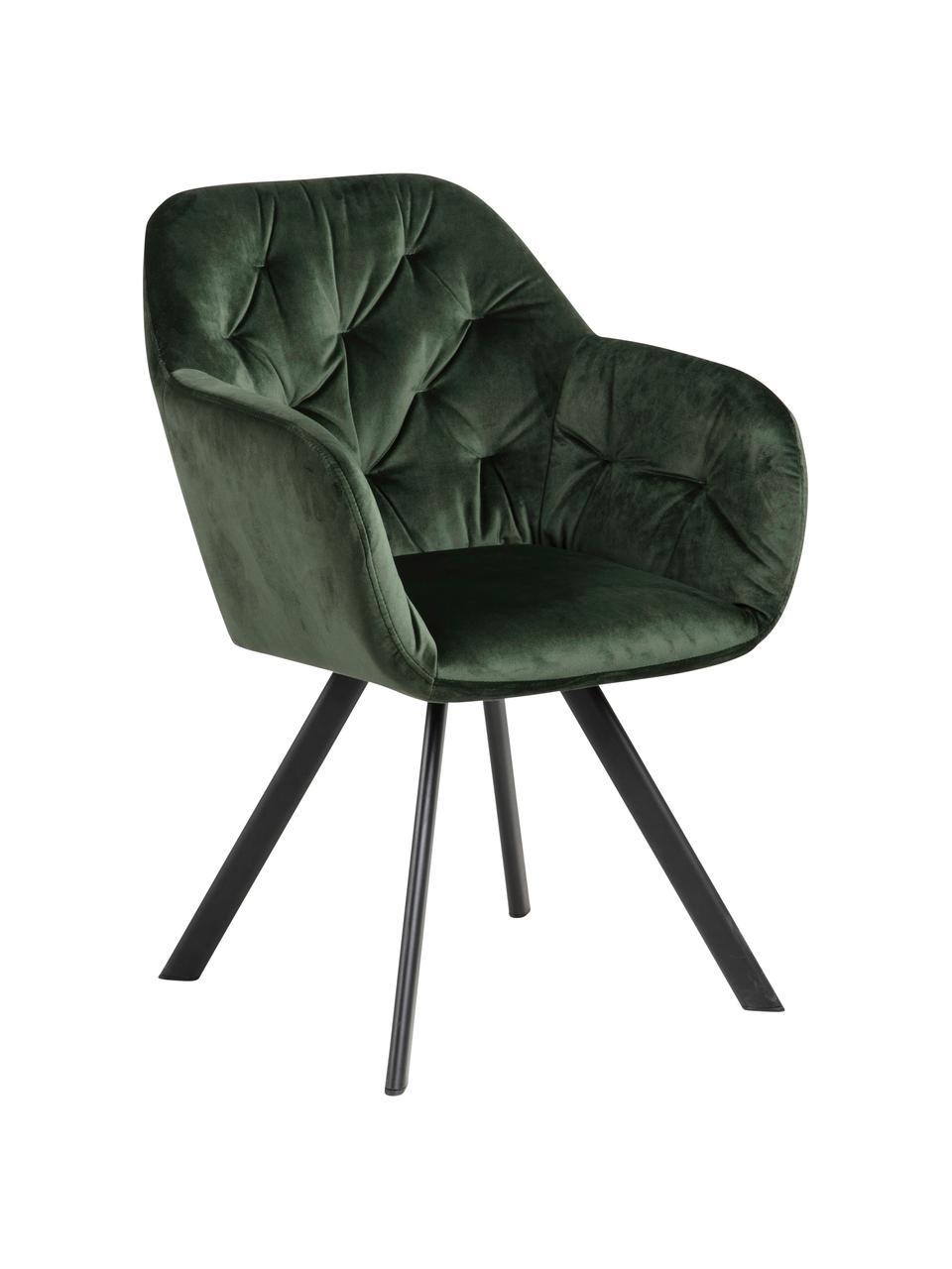 Krzesło z podłokietnikami z aksamitu Lucie, obrotowe, Tapicerka: aksamit poliestrowy Dzięk, Nogi: metal malowany proszkowo, Aksamit leśny zielony, czarny, S 58 x G 62 cm
