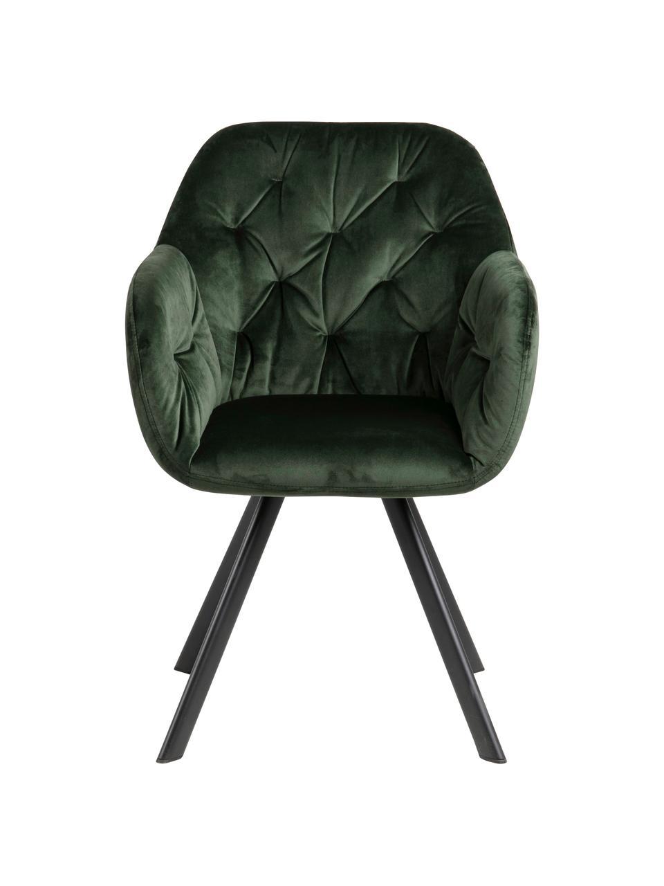 Draaibare fluwelen armstoel Lucie in groen, Bekleding: polyester fluweel, Poten: gepoedercoat metaal, Fluweel bosgroen, B 58 x D 62 cm