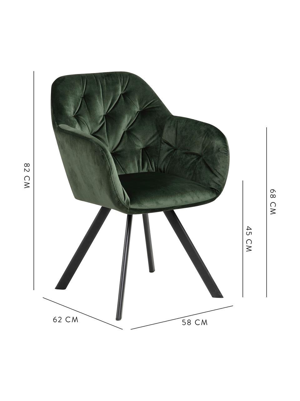 Chaise pivotante en velours et à accoudoirs Lucie, Vert forêt, noir