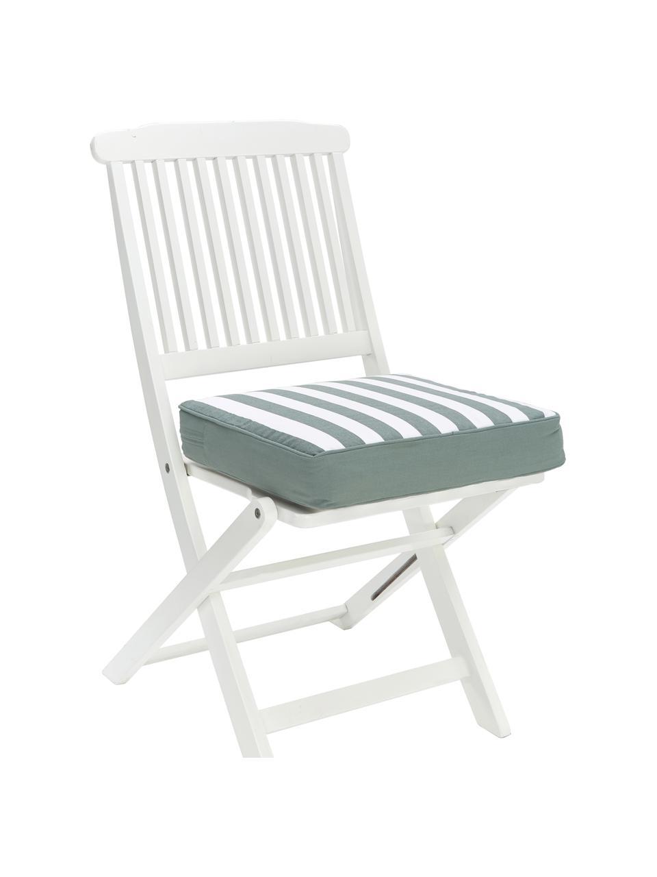 Hohes Sitzkissen Timon in Salbeigrün/Weiß, gestreift, Bezug: 100% Baumwolle, Grün, 40 x 40 cm