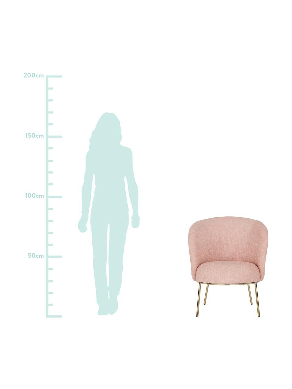 Fotel koktajlowy Kylie, Tapicerka: poliester 20 000 cykli w , Stelaż: metal, sklejka, Nogi: metal powlekany, Blady różowy, S 77 x G 72 cm
