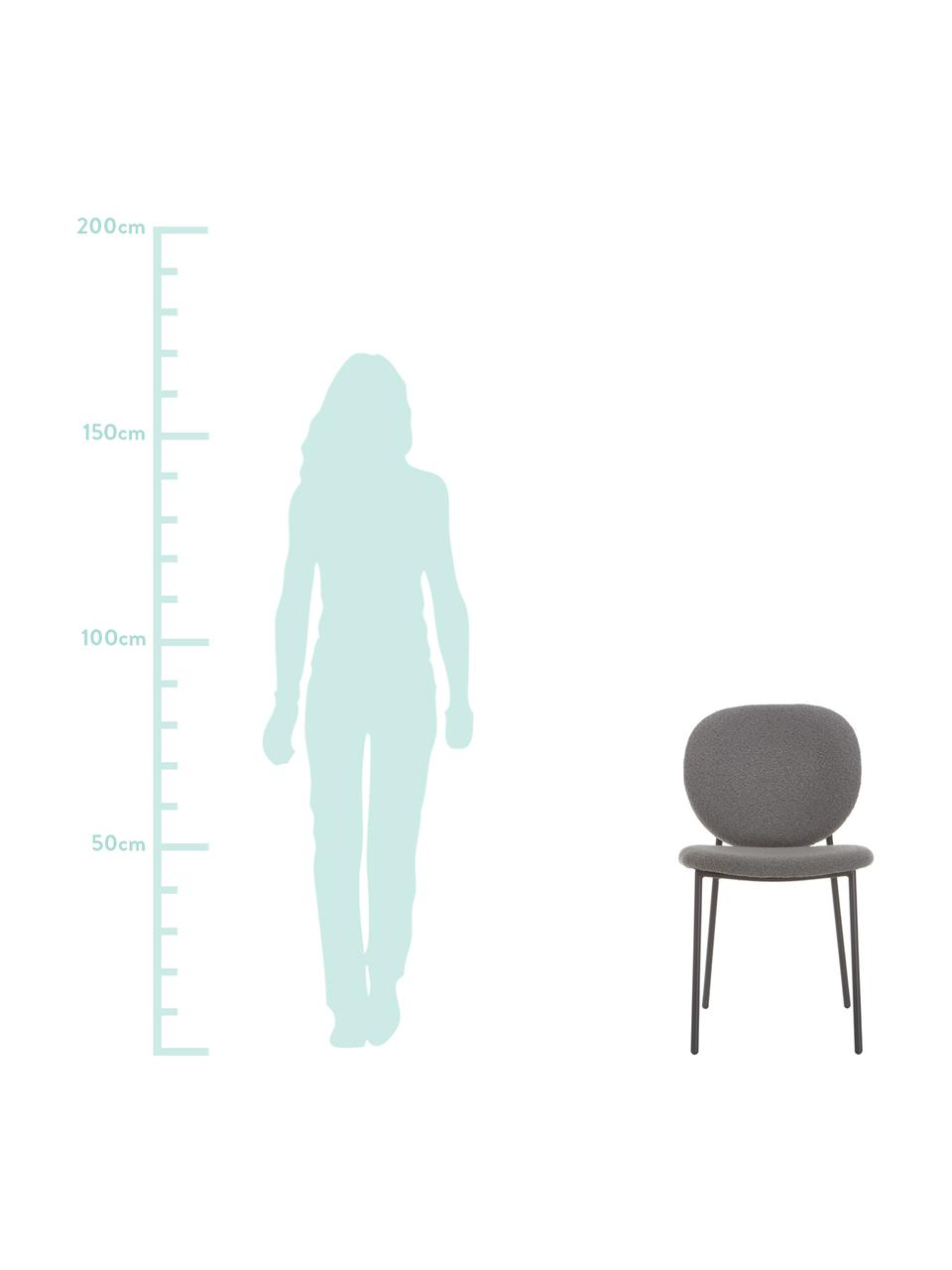 Krzesło tapicerowane bouclé Ulrica, 2 szt., Tapicerka: poliester Dzięki tkaninie, Nogi: metal malowany proszkowo, Szary, S 47 x G 61 cm
