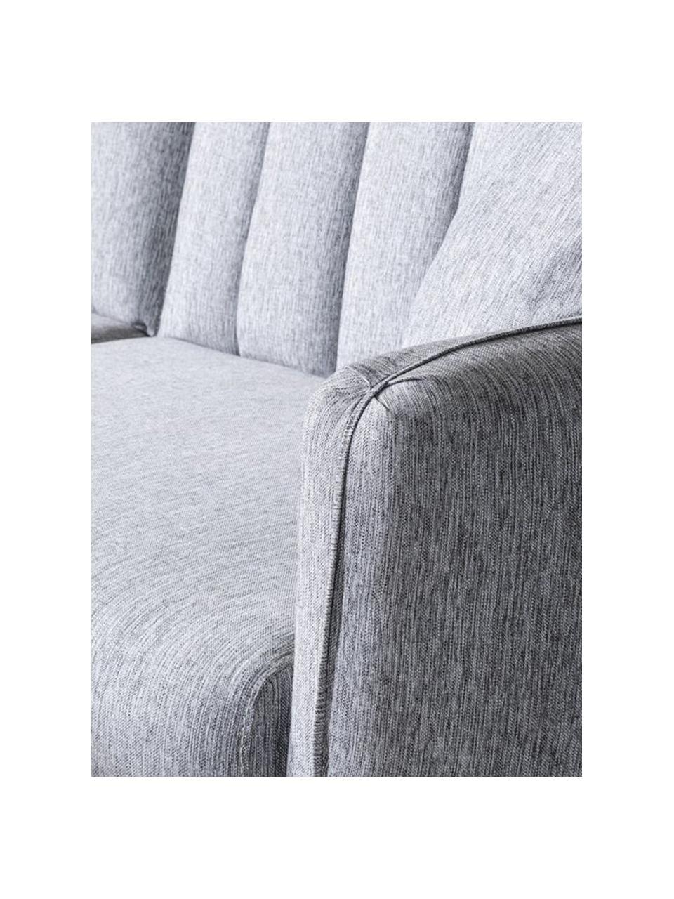 Sofa rozkładana Aqua (3-osobowa), Tapicerka: len, Stelaż: drewno rogowe, metal, Nogi: drewno naturalne, Jasny szary, S 202 x G 85 cm