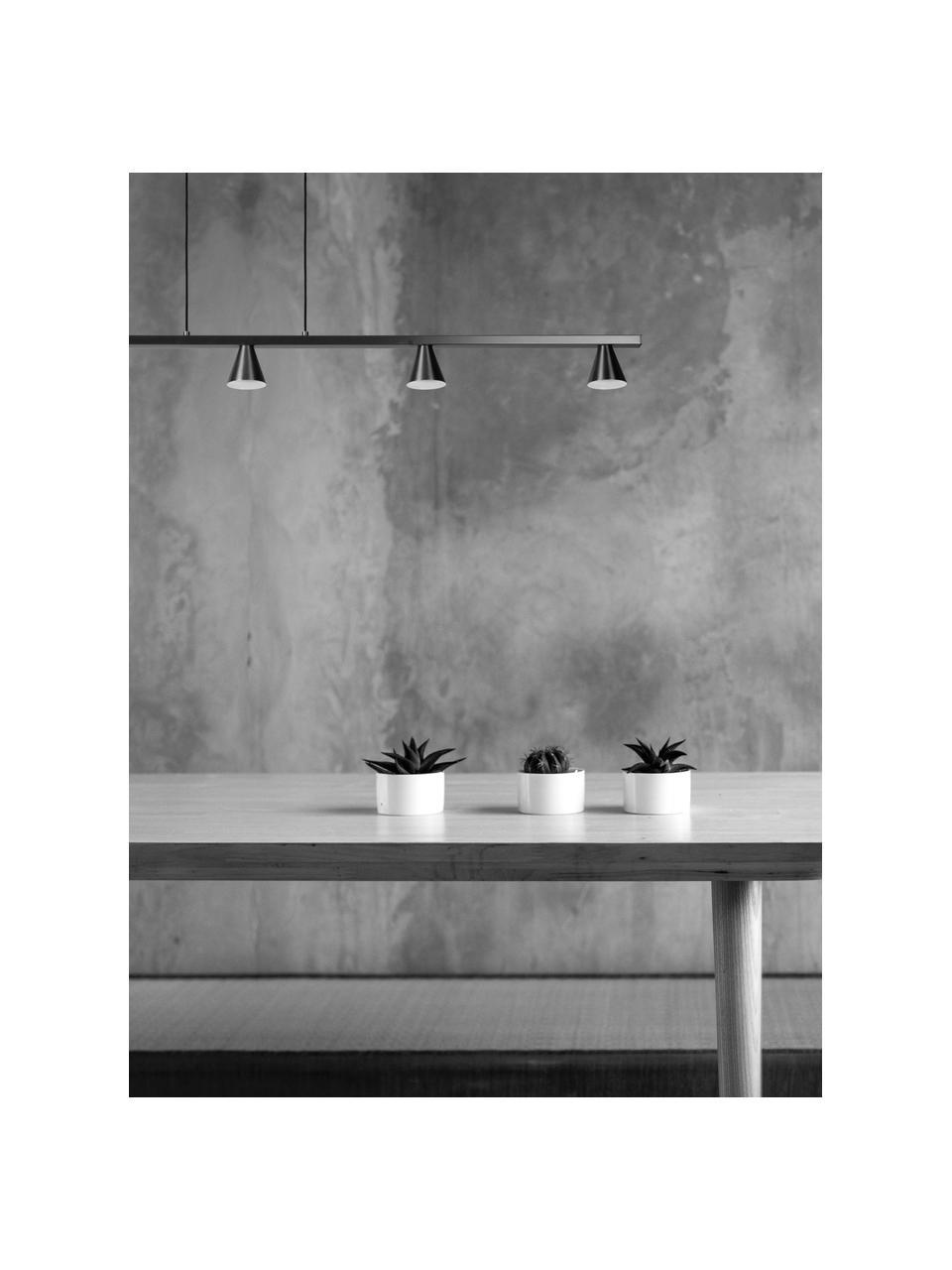 Große LED-Pendelleuchte Delano, Baldachin: Aluminium, Silberfarben, matt, 118 x 6 cm