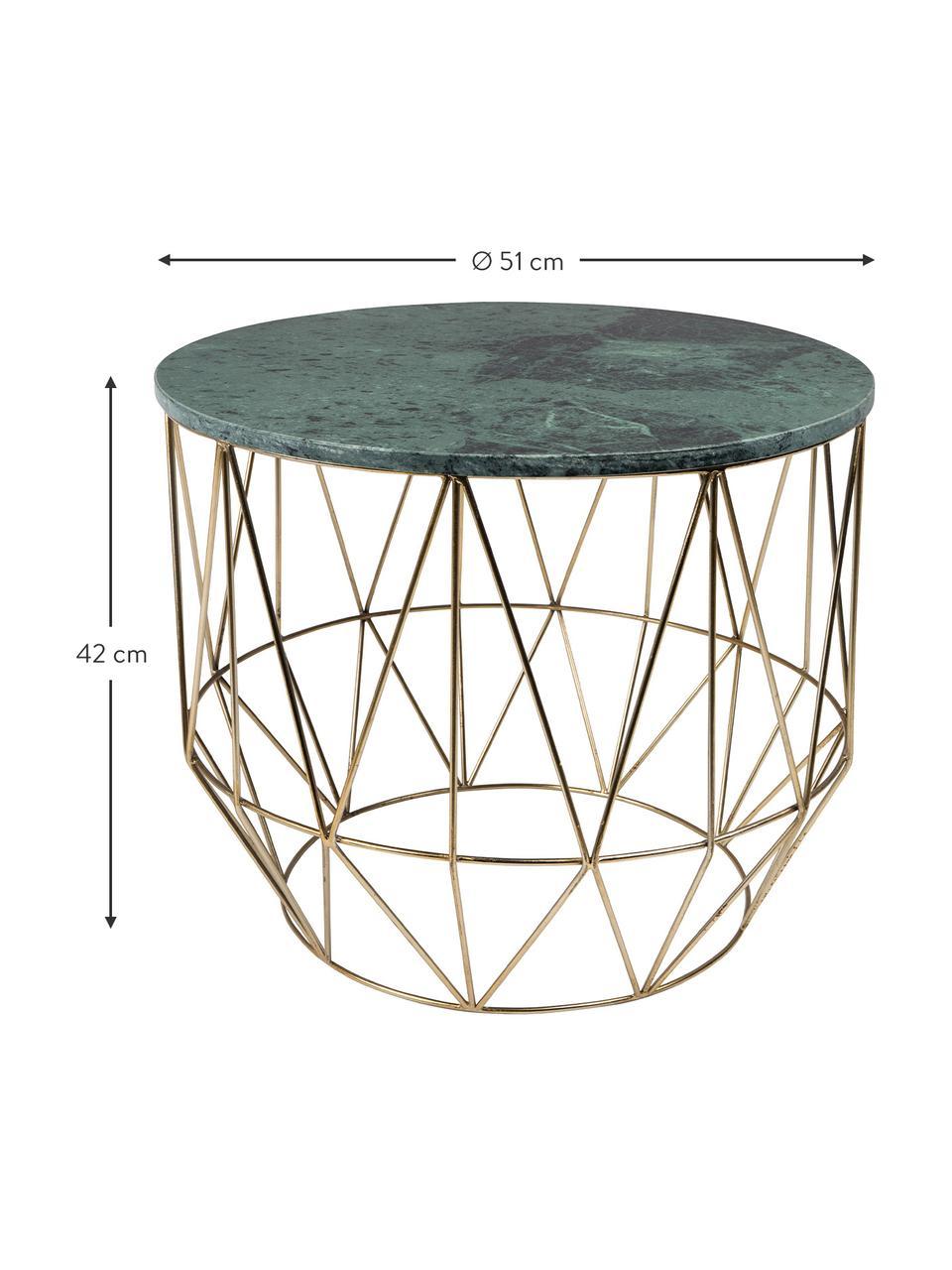 Okrągły stolik pomocniczy z marmuru Boss, Blat: marmur, Stelaż: metal mosiądzowany, Blat: zielony, marmurowy Nogi: mosiężny, Ø 51 x W 42 cm