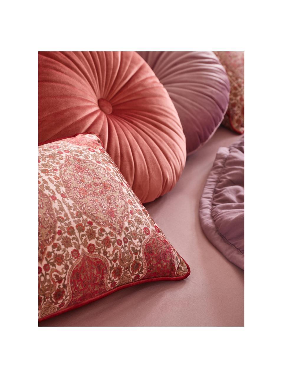 Vzorovaný sametový polštář s lemováním Giulia, s výplní, Odstíny červené, růžová