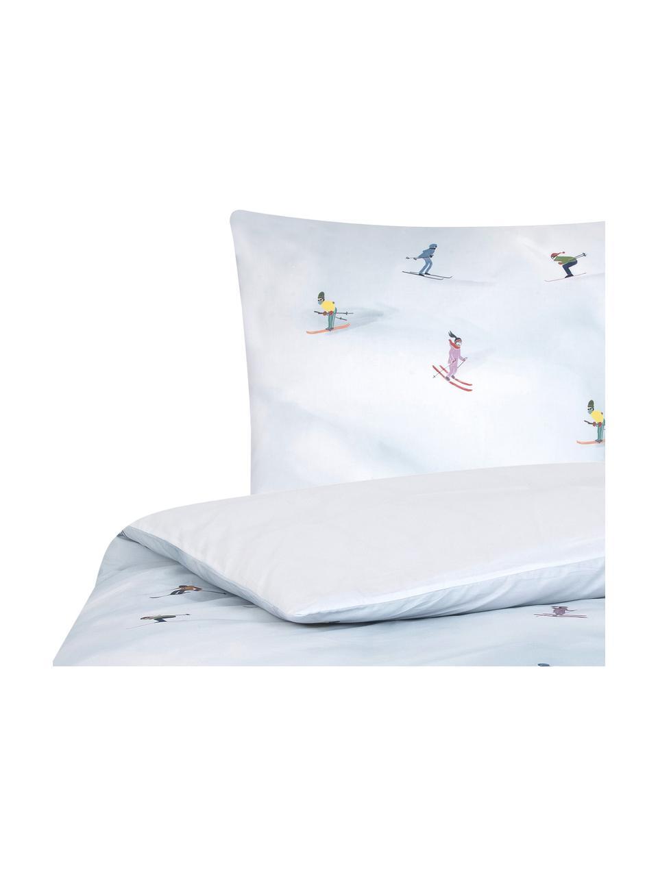 Pościel z perkalu Ski od Kery Till, Jasny niebieski, wielobarwny, 135 x 200 cm + 1 poduszka 80 x 80 cm