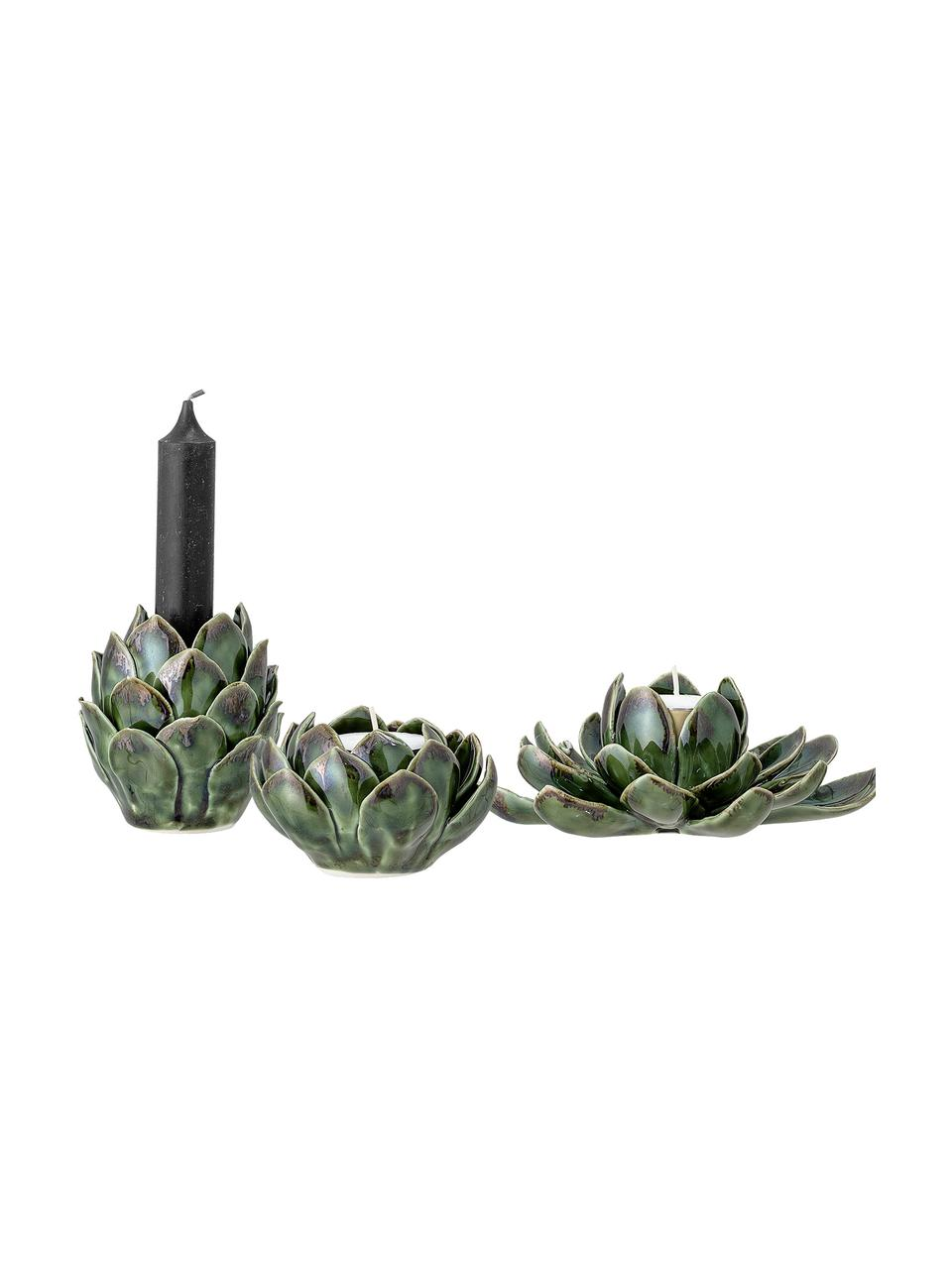 Handgemaakte waxinelichthoudersset Gloria, 3-delig, Keramiek, Groen, Set met verschillende formaten