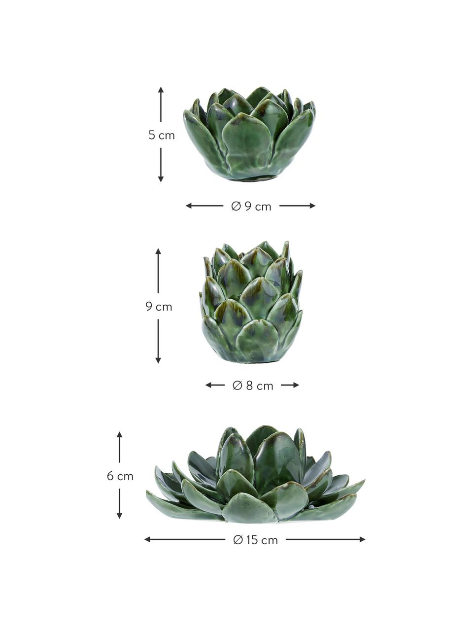 Set 3 portalumini fatto a mano Gloria, Gres, Verde, Set in varie misure