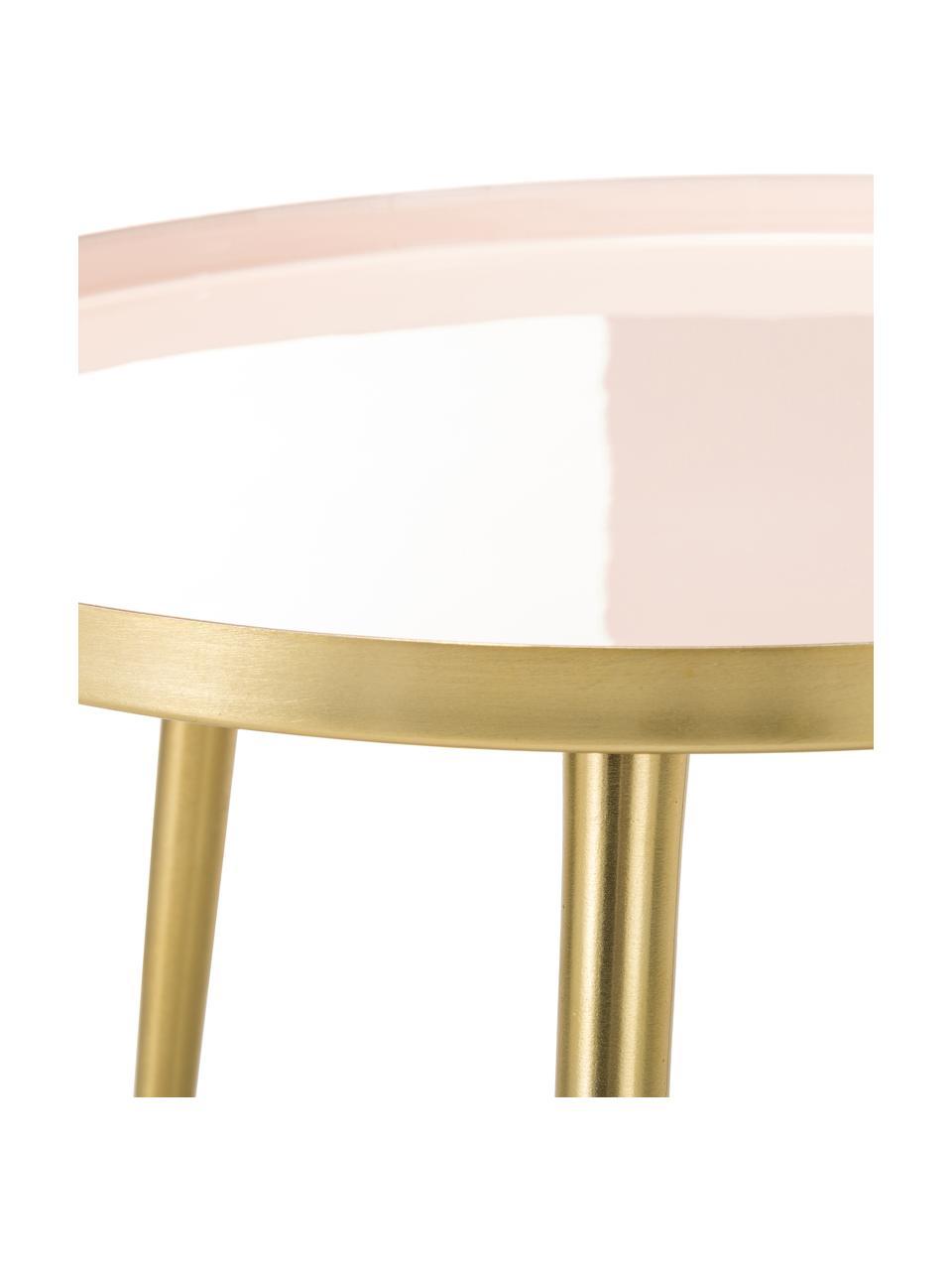 Okrągły stolik pomocniczy z metalu Amalia, Blat: jasny różowy Nogi stolika: odcienie złotego, Ø 50 x W 42 cm