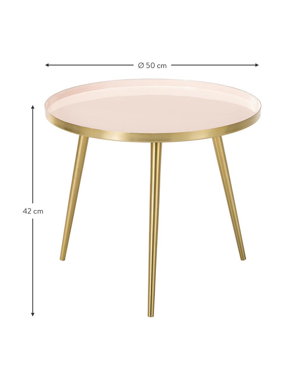 Table d'appoint ronde métal Amalia, Plateau: rose pastelPieds de table: couleur dorée
