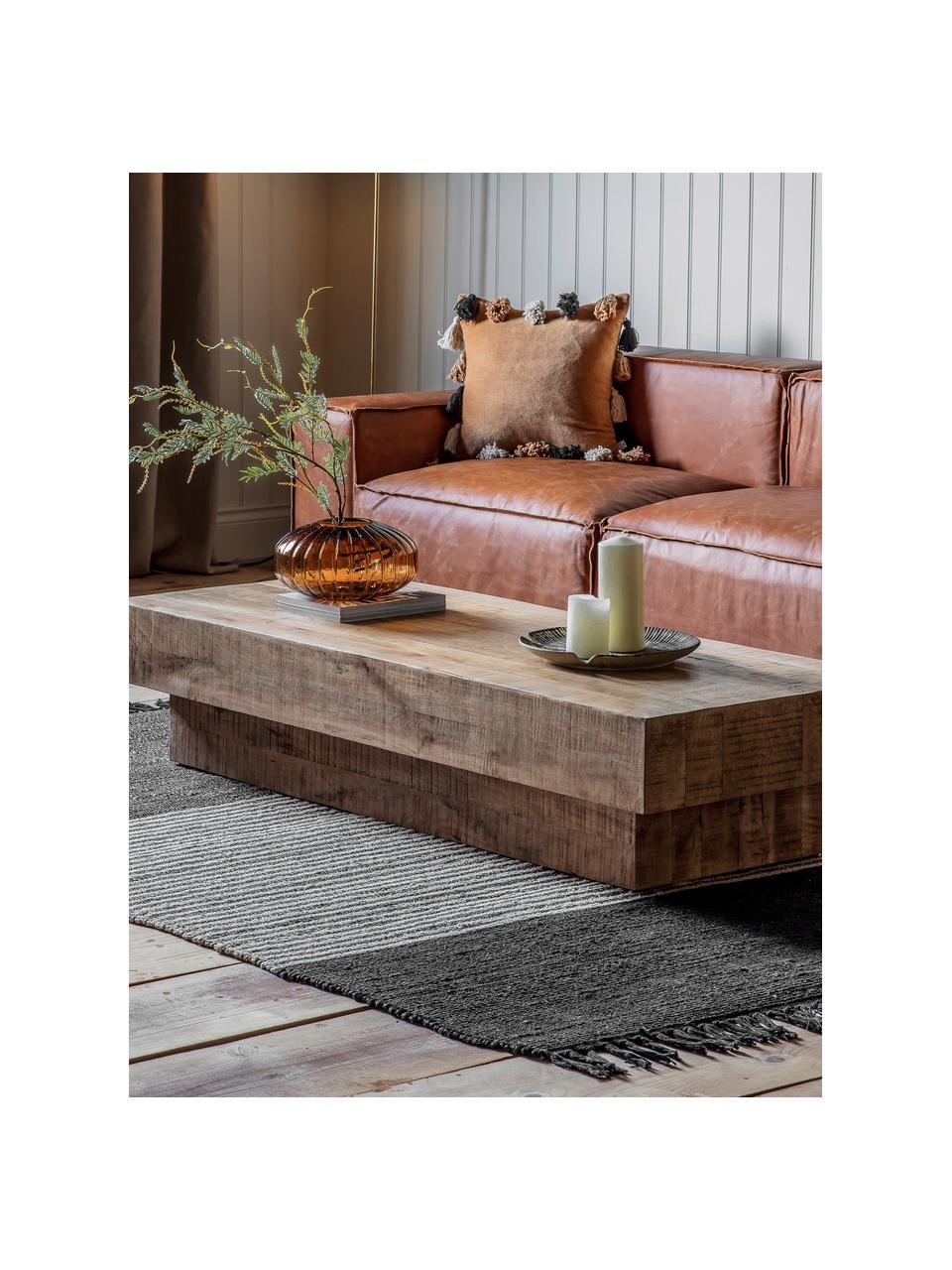 Tavolino da salotto in legno massiccio Iowa, Legno di mango laccato trasparente, Marrone, Larg. 150 x Alt. 30 cm