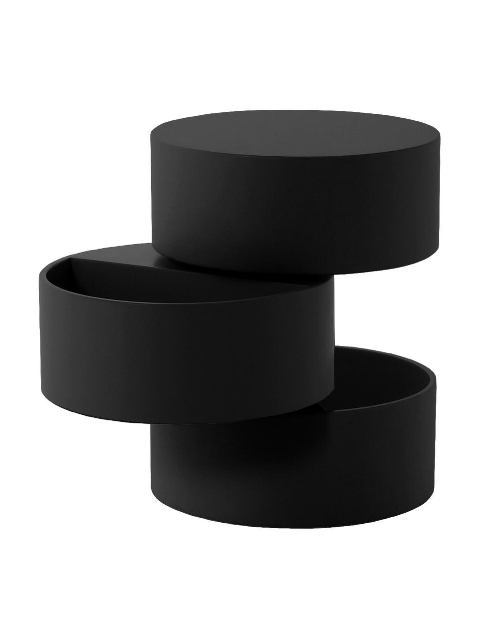 Tavolino nero con scomparti mobili Loka, Pannello di fibra a media densità, verniciato, Nero, Ø 40 x Alt. 51 cm