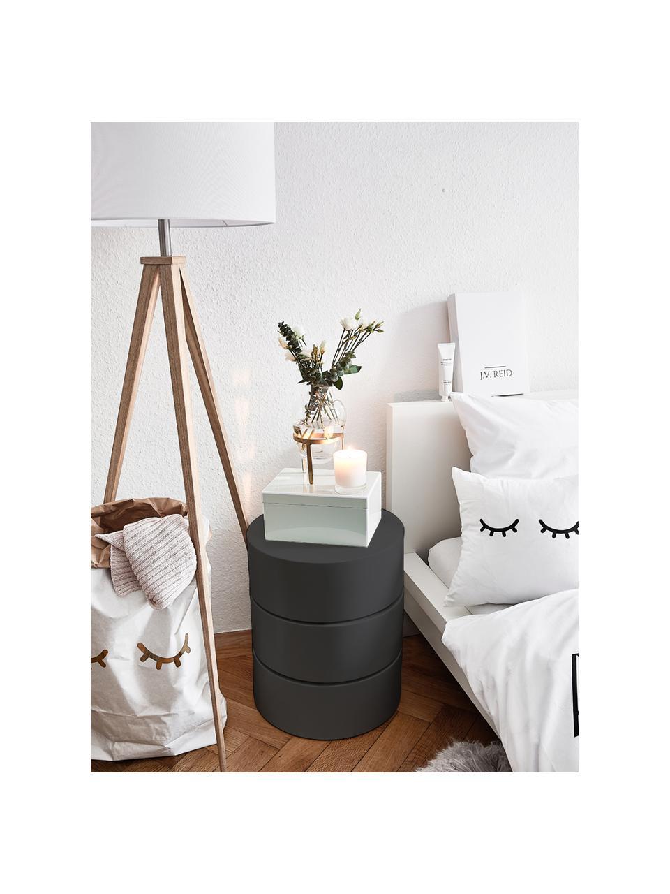 Bijzettafel Loka met draaibare vakken, Gelakt MDF, Zwart, Ø 40 x H 51 cm