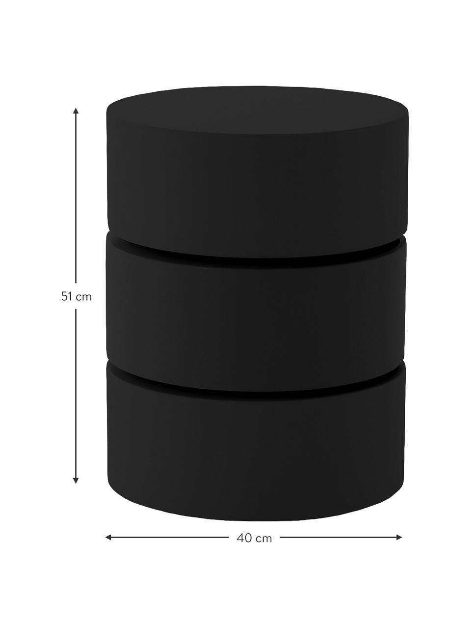 Table d'appoint à compartiments mobiles Loka, Noir