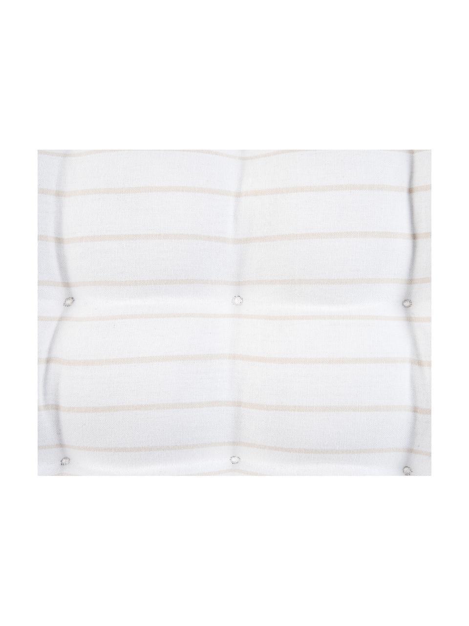 Gestreiftes Sitzkissen Ludmilla, Beige, Cremeweiß, 40 x 40 cm