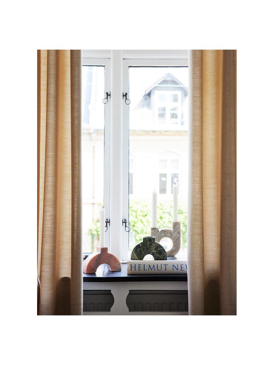 Kerzenhalter Arch Thin aus Marmor, Marmor, Beige, Rosa, 16 x 13 cm