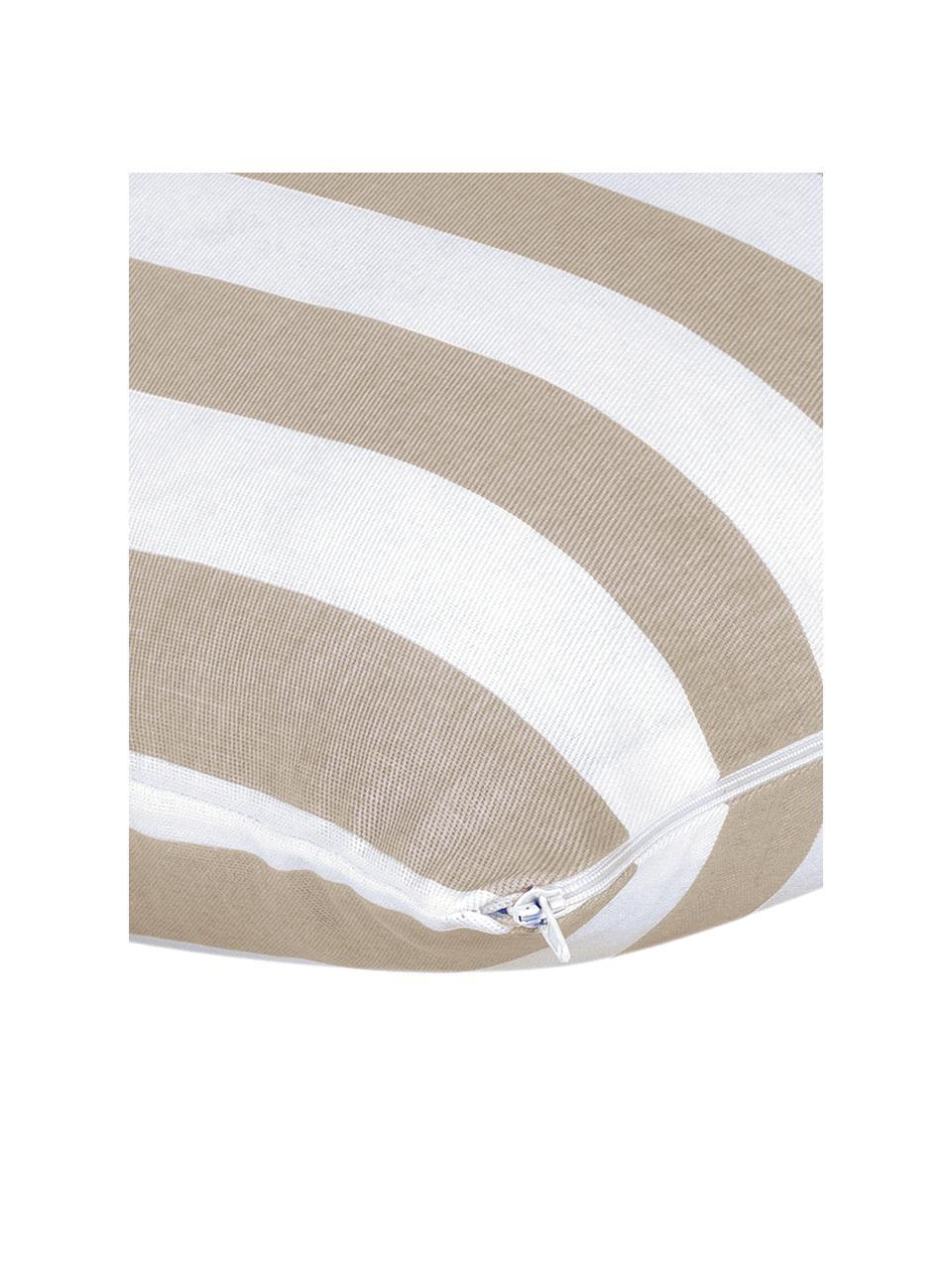 Housse de coussin à rayures Timon, Taupe, blanc