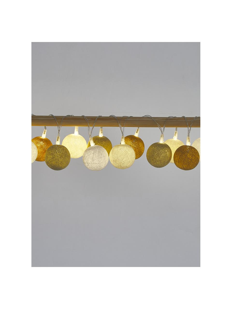 LED-Lichterkette Colorain, 378 cm, 20 Lampions, Weiß, Creme, Beige, Senfgelb, L 378 cm