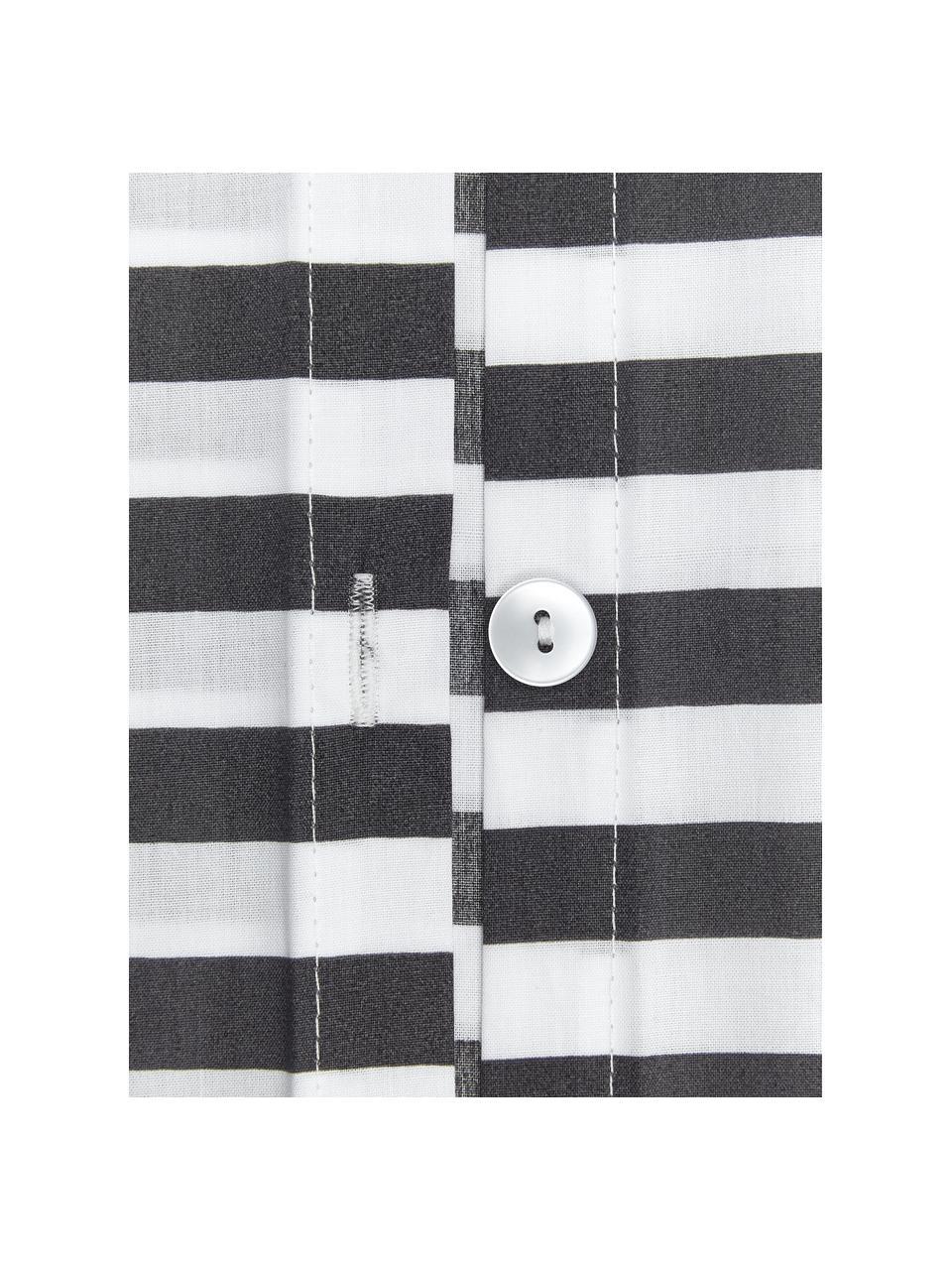 Gestreifte Baumwollperkal-Kopfkissenbezüge Yuliya, 2 Stück, Webart: Perkal Fadendichte 180 TC, Dunkelgrau, Weiß, 40 x 80 cm