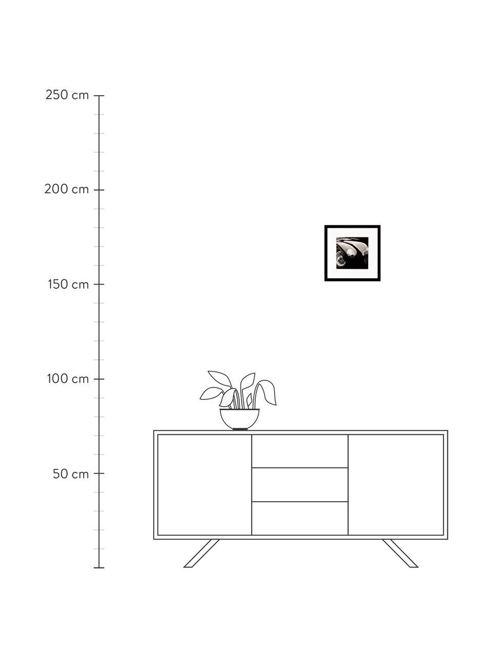 Ingelijste digitale print Oldtimer II, Afbeelding: digitale print, Lijst: kunststof, Afbeelding: zwart, wit Lijst: zwart, 30 x 30 cm