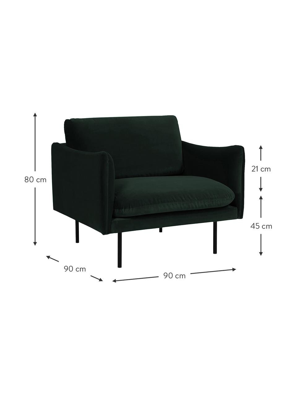 Fluwelen fauteuil Moby in donkergroen met metalen poten, Bekleding: fluweel (hoogwaardig poly, Frame: massief grenenhout, Poten: gepoedercoat metaal, Fluweel donkergroen, B 90 x D 90 cm