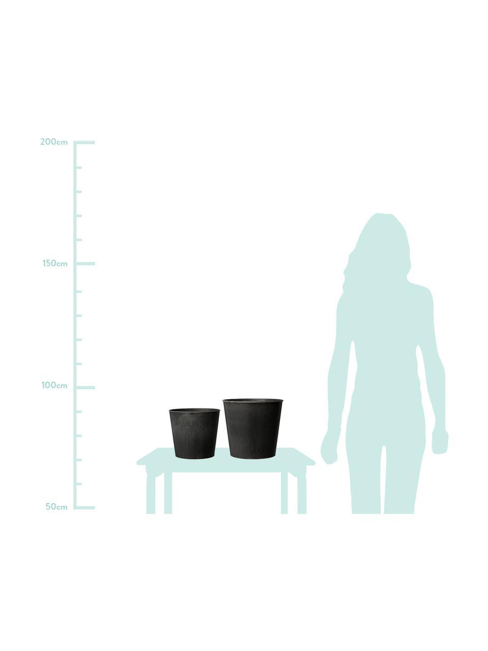 Pflanztopf-Set Yrsa, 2-tlg., Kunststoff, Schwarz, Set mit verschiedenen Größen
