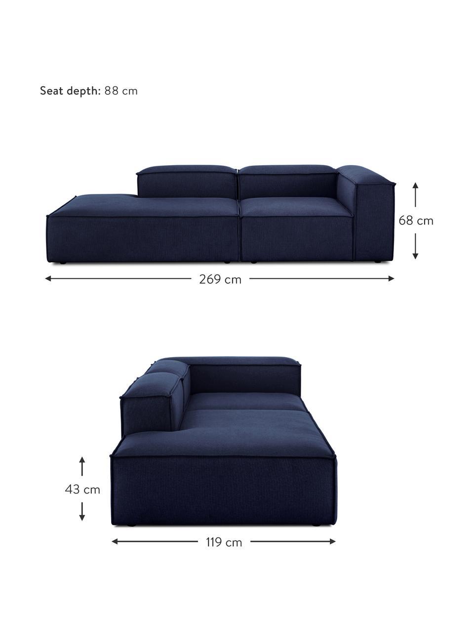 Modulaire chaise longue Lennon in blauw, Bekleding: 100% polyester De slijtva, Frame: massief grenenhout, multi, Poten: kunststof De poten bevind, Geweven stof blauw, 269 x 119 cm