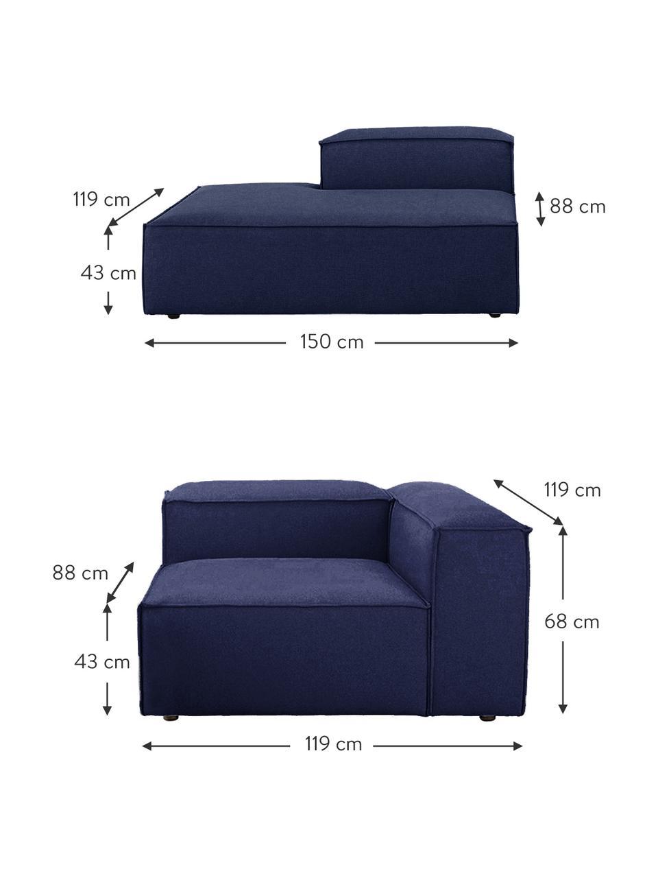 Méridienne modulable bleue Lennon, Tissu bleu
