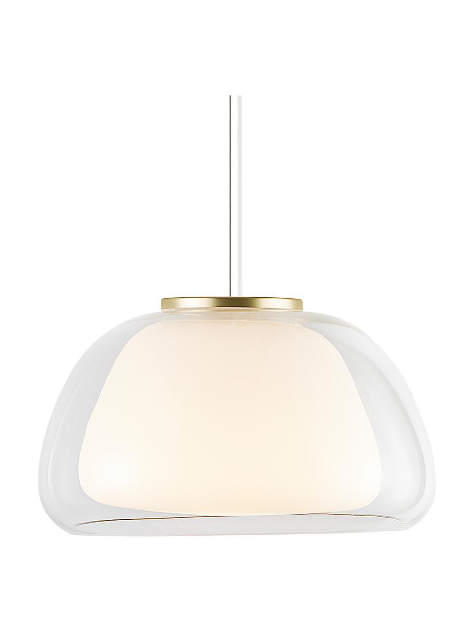 Pendelleuchte Jelly aus Glas, Lampenschirm: Glas, Dekor: Metall, Transparent, Weiß, Ø 39 x H 23 cm