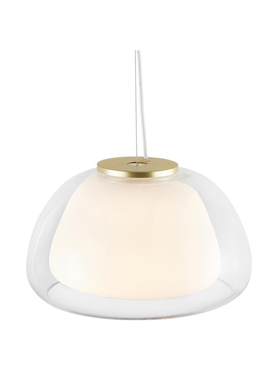 Lampa wisząca ze szkła Jelly, Transparentny, biały, Ø 39 x W 23 cm