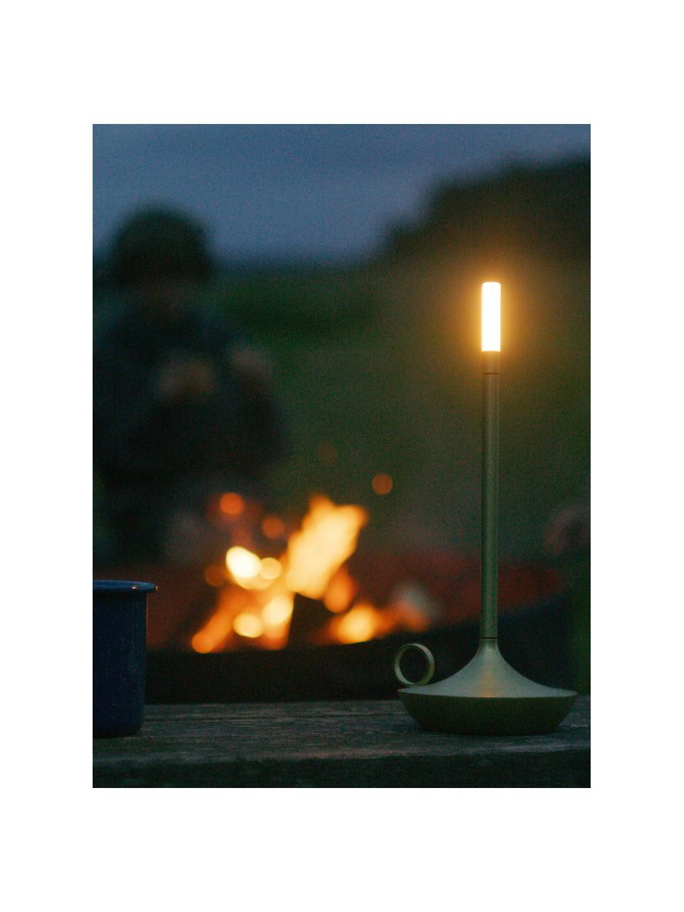 Lampada da tavolo a LED da esterno dimmerabile con funzione touch USB Wick, Base della lampada: alluminio riciclato e riv, Paralume: materiale sintetico, Ottonato, Ø 12 x Alt. 26 cm