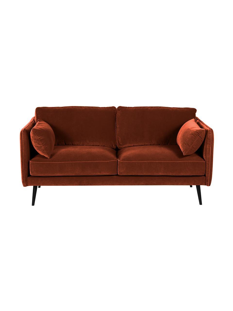 Fluwelen bank Paola (2-zits) met roodbruin met houten poten, Bekleding: fluweel (polyester), Frame: massief vurenhout, spaanp, Poten: gelakt vurenhout, Fluweel roodbruin, B 179 x D 95 cm