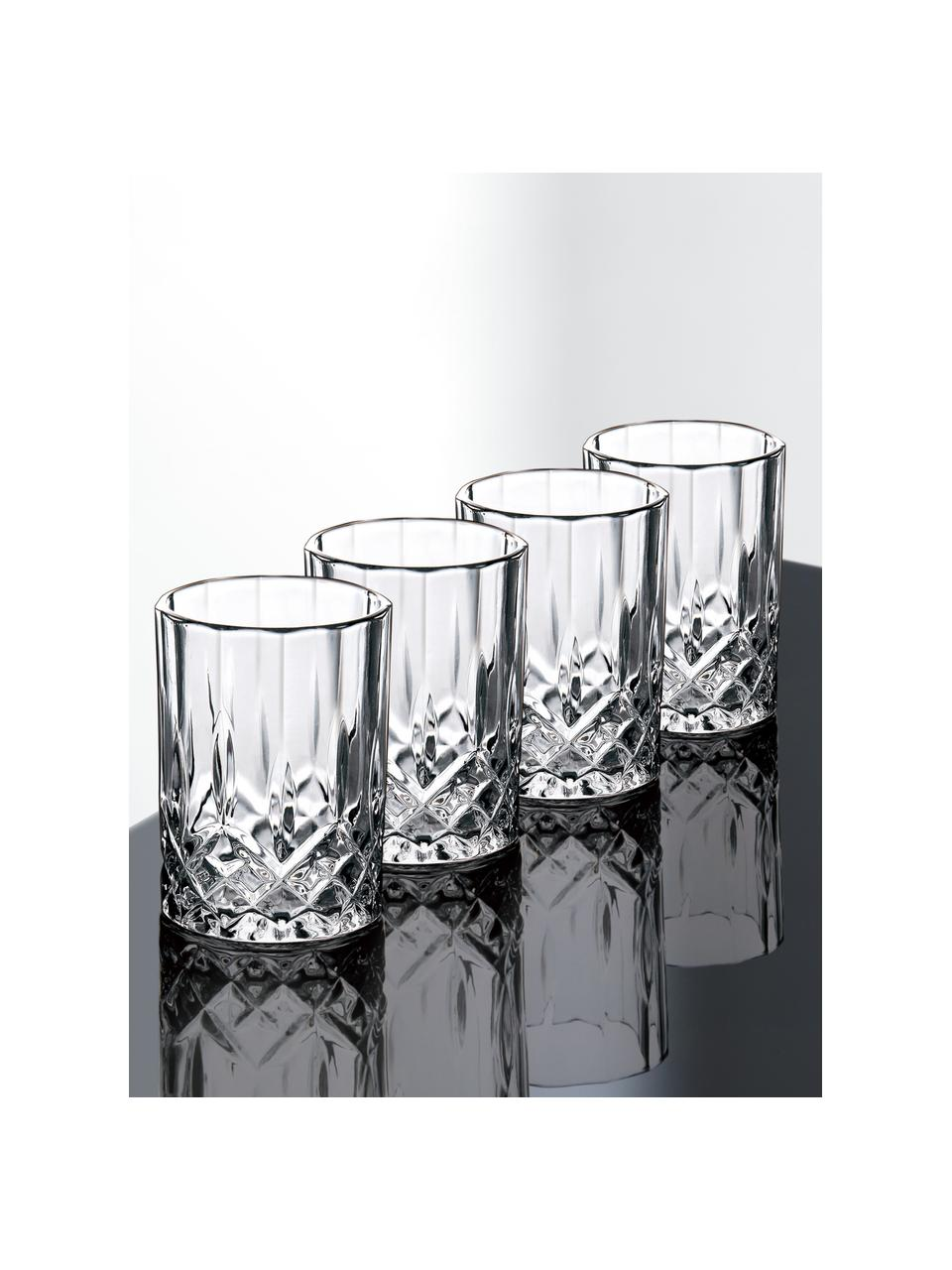 Bicchieri con motivo in rilievo Harvey 4 pz, Vetro, Trasparente, Ø 4 x Alt. 6 cm