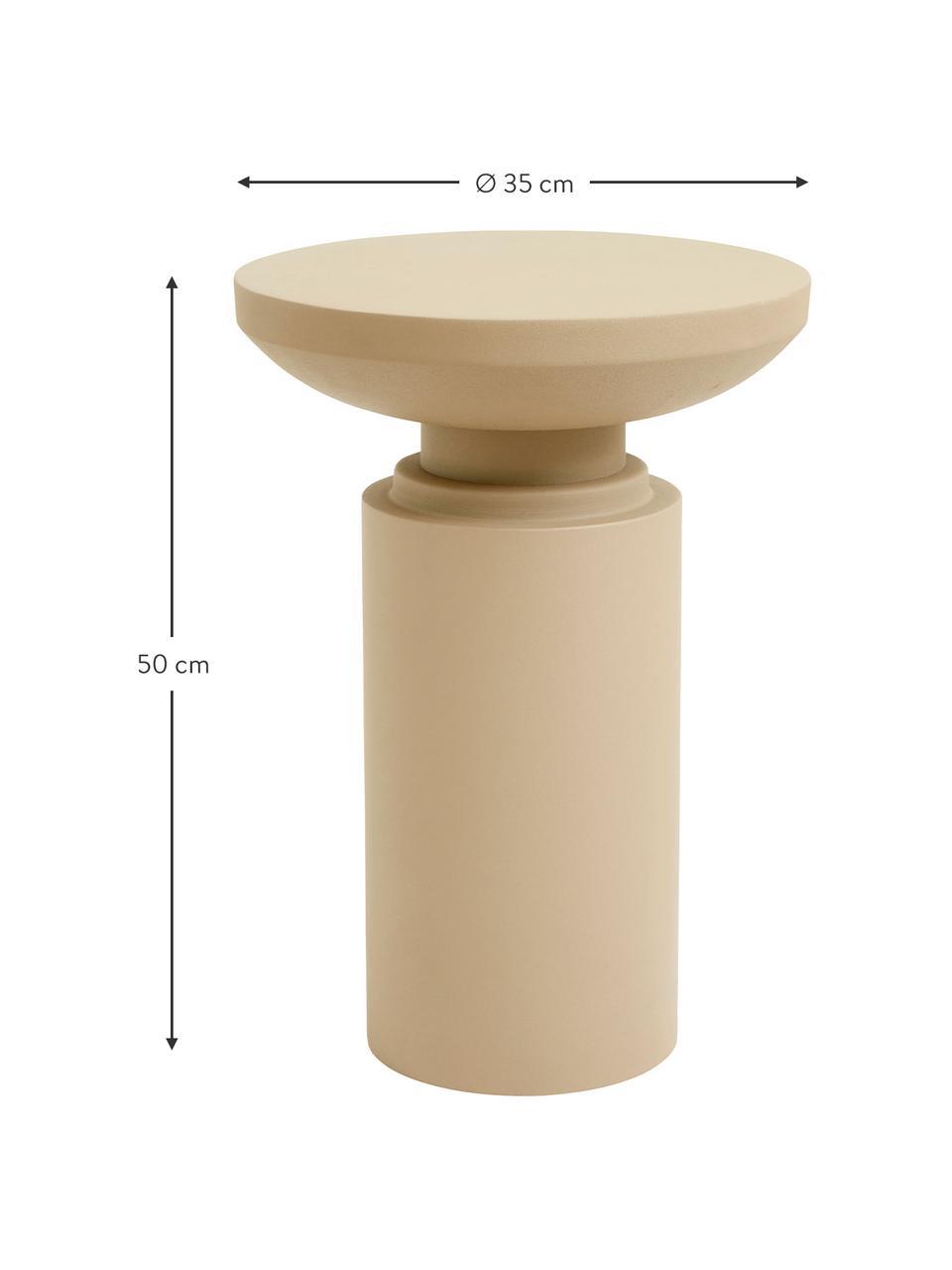 Tavolino in metallo Victoria, Metallo verniciato a polvere, Beige, Ø 35 x Alt. 50 cm