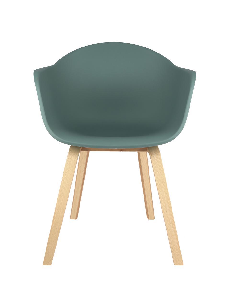 Sedia con braccioli e gambe in legno Claire, Seduta: materiale sintetico, Gambe: legno di faggio Il legno , Seduta: verde Gambe: legno di faggio, Larg. 60 x Alt. 54 cm